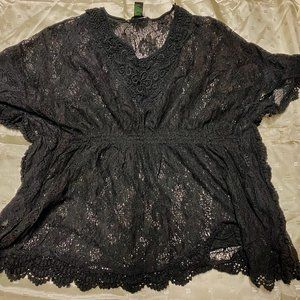 Women Black  RAIN  Cotton  Lace Top Cover - Up  XL
